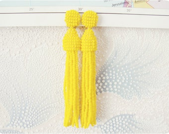 Beaded Tassel Earrings Primrose Yellow (made to order)