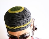 Summer crochet cap unisex fashion hat in grey cotton, the Cyclope Hat