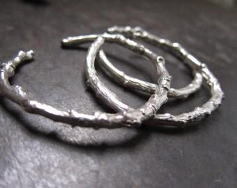 Brooklyn Branch Cuff/Open Bangle Bracelet by Miski Metal - Sterling Silver