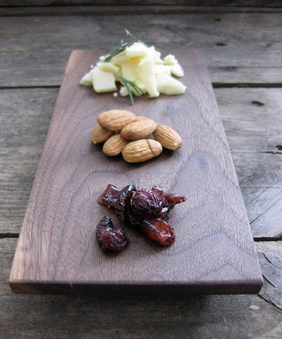 Reclaimed wood platter - Small Walnut Hardwood Cheese/Serving Tray