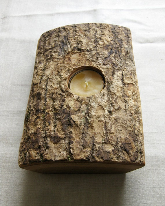 Split wood log candle holder with bark on reclaimed eco rustic farmhouse gifts under 50 133L