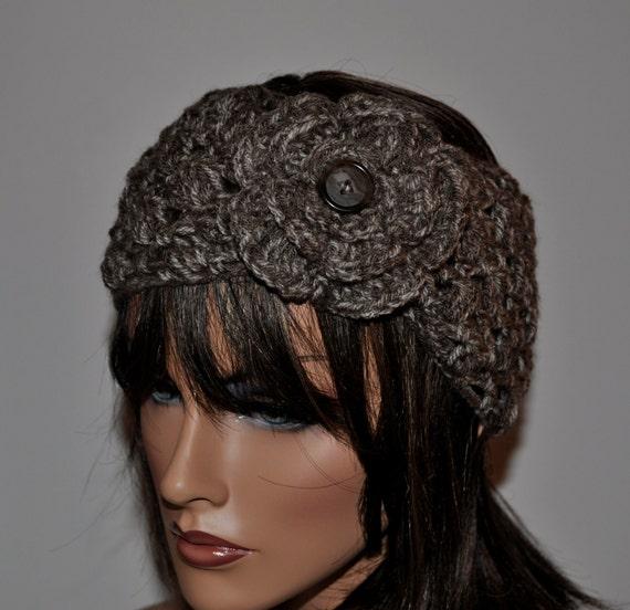 Free Crochet Pattern Headwrap Ear Warmer : Crochet Ear Warmer Handmade Headbands with flowerHead wrap