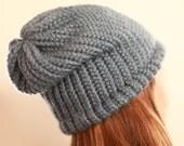 Slouchy Knit Hat in Light Blue