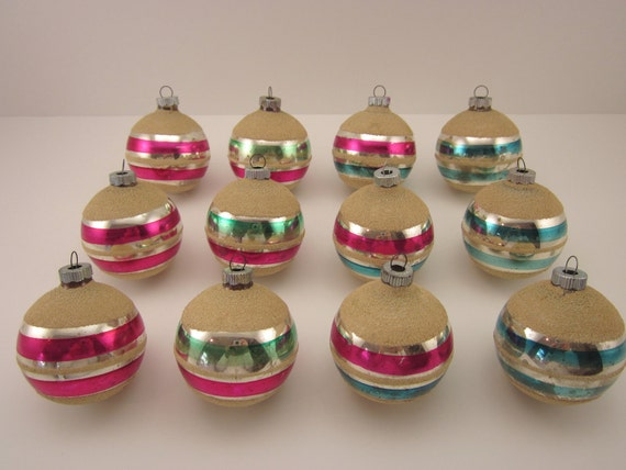 Striped Shiny Brite Vintage Christmas Holiday Ornaments One Dozen Boxed