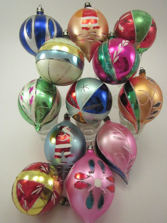 Vintage hand painted glass christmas by thisthatandchristmas for What to do with old christmas ornaments