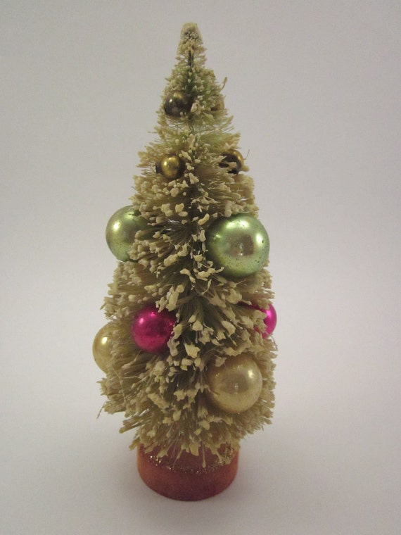 8 Inch Bottle Brush Tree Vintage With Mercury Glass Ornaments Christmas Holiday