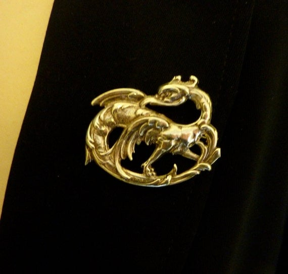 SILVER GRIFFIN PIN  prototype one -off casting 1980s