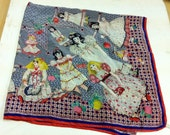 1960s silk scarf with dolls on bizzare but great