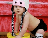 Black and White Cow Earflap Hat