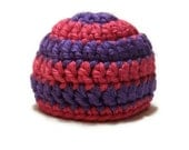 Baby Girl Crochet Striped Hat Purple and Pink
