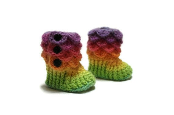 Crochet Crocodile 0-6 Month Baby Girl Slipper Booties in Bright Rainbow, Ready To Ship
