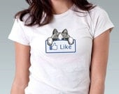 Facebook Like Cat Original Art Print Women T-Shirt - Sizes XS, S, M, L, XL