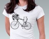 Cat Shirt Kitty Cat Kitten Bike Bicycle Flower Bouquet Art Print Ladies T-Shirt Cat Lover Cute Gift - White or Pink - Sizes XS, S, M, L, XL