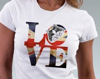 Cat T-shirt LOVE Philadelphia Vintage Punk British Flag Kitten Cat Kitty Art Print Robert Indiana Cat Lover  Women T-Shirt - White S, M