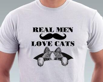 Real Men Love Cats tshirt Hipster Mustache Moustache Geek Cat Kitty Cat Shirt Pet Animal Art Men T-Shirt - White Tee S, M, L, XL, XXL