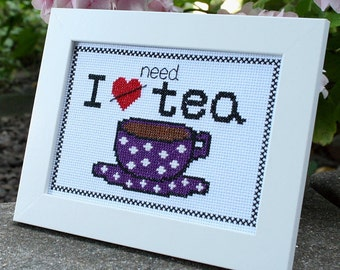 I Need Tea cross-stitch kit