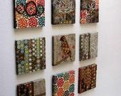 "Set of 9, NATURE WALL ART, Bird, Flowers, Tree, Earth, Cut out, Batik, Fabric Applique, 12""x12"""