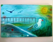 "Wall Art Original Beach Watercolor Painting, Abstract Sea Seashore Seagull Waves Sun Pier Blue Green Yellow Orange, 30""x48"""