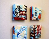 "ASIAN Wall Art Set of 4, Chinese Japanese Oriental Architecture Fabric Cherry Blossom Beauty Blue Waves Orange Red Brown White, 8""x8"""