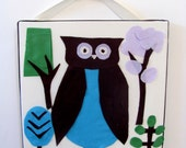 Childrens Wall Art, OWL Nature Tree White Blue Green Brown, 12x12