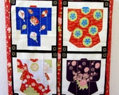 "ASIAN Wall Art, Kimono Cherry Blossom Japanese Chinese Silk Clothing, Hand Cut Applique , 12""x12"""