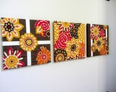 "Floral Wall Art, Set of 3 Bright Bold Daisies Flowers Floral Yellow Orange Red Brown White, 12""x12"""