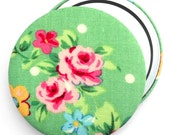 Compact Mirror/ Pocket Mirror/ Handbag Mirror, Green and Pink Rose Floral Compact Mirror, perfect for wedding favours & party bag gifts