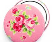 Compact mirror/ pocket mirror/ handbag mirror, pink rose Flower Sugar fabric, compact mirrors perfect for wedding favours and party bags
