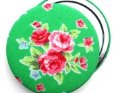 Compact Mirror/ Pocket Mirror/ Handbag Mirror, Green Rose Flower Sugar Fabric, perfect for wedding favours & party bag fillers