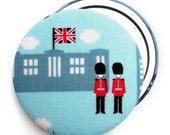 Compact Mirror/ Pocket Mirror/ Handbag Mirror, London Guards and Union Jack Buckingham Palace Fabric Compact Mirror, London gifts