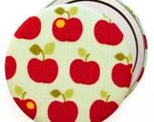 Apple Fabric Compact Mirror/ Pocket Mirror/ Handbag Mirror, Thank you teacher gift, End of term teacher present