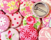 Fabric Pin Badges, pack of 5, colourful floral and patterned fabrics (pink mix), perfect for party bags, favours and birthdays
