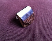 Handmade ring, wooden block button with metal ring, one of a kind, perfect present