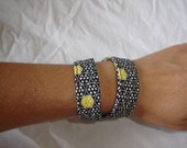 Fabric wrist cuff black yellow and white casual fabric for everyday wear