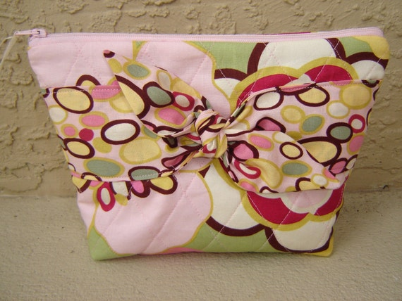 Cosmetic bag make up bag pink floral with bangle print tie front vinyl lined