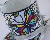 STAINED GLASS BUTTERFLIES Hand Painted Mug & Coaster Set