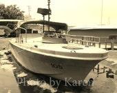 Swamp Dock , Aged Photo, Vietnam War boat photo