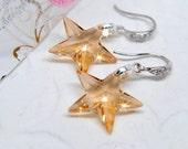 Golden Star Earrings. Swarovski Vintage Inspired Crystal Earrings