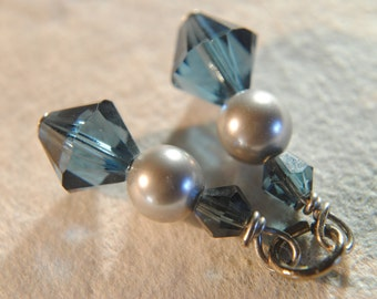Crystal Earring Charms Indigo Blue and Pearl. Crystals & Pearls.Mix and Match Free Shipping