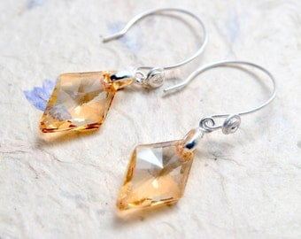 Golden Shadow Drop Earrings. Swarovski Crystal Earrings.