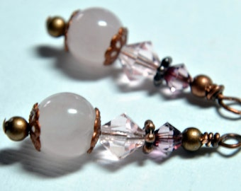 Interchangeable Earring Charms Cherry Quartz and Crystal