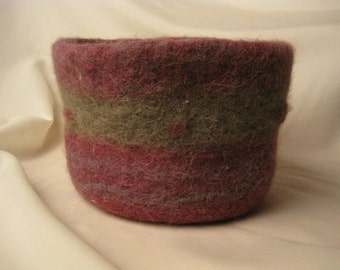 Purple and Green Felted Alpaca Bowl with Bobbles