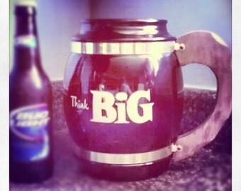 "1970's ""Think Big"" Siestaware Amber Glass Mug"