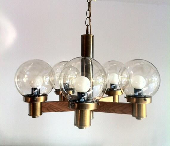 REDUCED: Vintage wood atomic mid century retro bubble globe chandelier