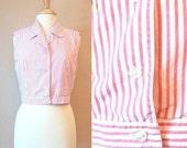 SALE 80s Liz CLAIBORNE TOP sleeveless pink stripe button up