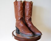 Vintage Tony Lama Cowboy Boots Brown Tan Leather Snakeskin El Paso Texas