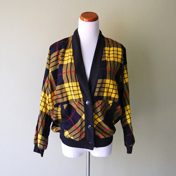 Vintage 80s Plaid Sweater Jacket Button Down Oversized Yellow and Navy Blue Cardigan by Eber