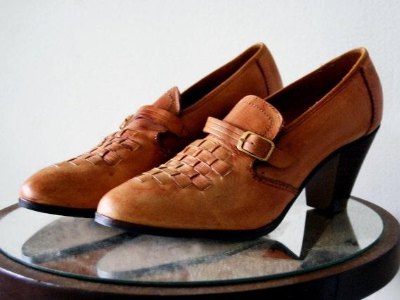 Vintage Brazillian Leather Loafer Heels Weave Brown Tan Buckle Size 8.5