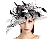 On Sale Now - Kentucky Derby Black White Marble Print Couture Hat