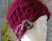 Request Any Color Maroon Wine Crochet cloche cap hat beanie with braided yarn tie that can be removed if wanted